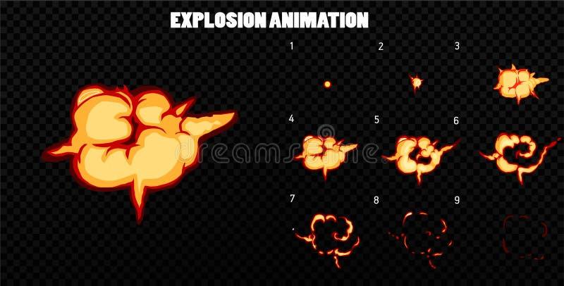 Вектор взрывает Взорвите анимацию влияния с дымом Рамки взрыва шаржа Лист спрайта взрыва иллюстрация штока