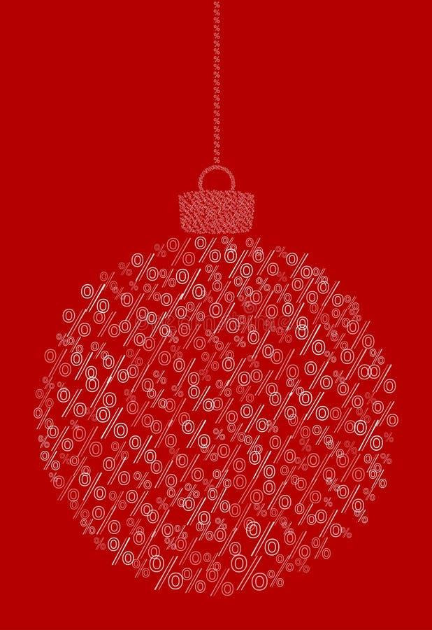Вектор вися абстрактный шарик рождества состоя из линии значков знака процентов на красной предпосылке иллюстрация штока