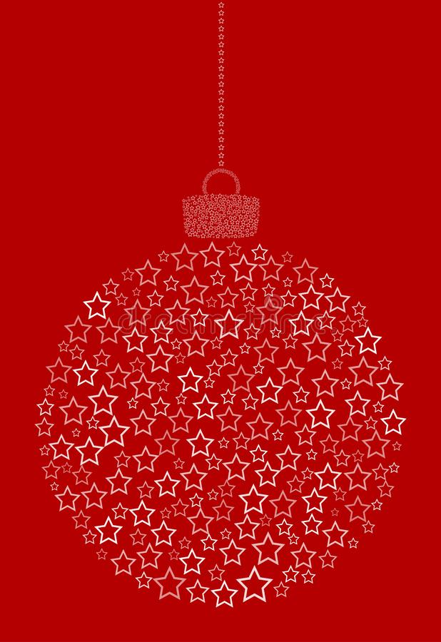 Вектор вися абстрактный шарик рождества состоя из линии значков звезды на красной предпосылке иллюстрация штока