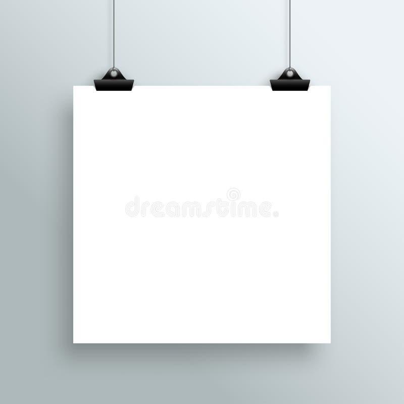 Вектор вися пустой плакат белого квадрата от зажимов иллюстрация вектора