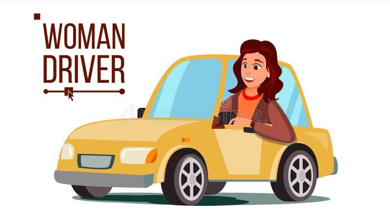 Вектор водителя женщины Сидеть в современном автомобиле купите автомобиль новый Концепция управляя школы Счастливая женская автом бесплатная иллюстрация