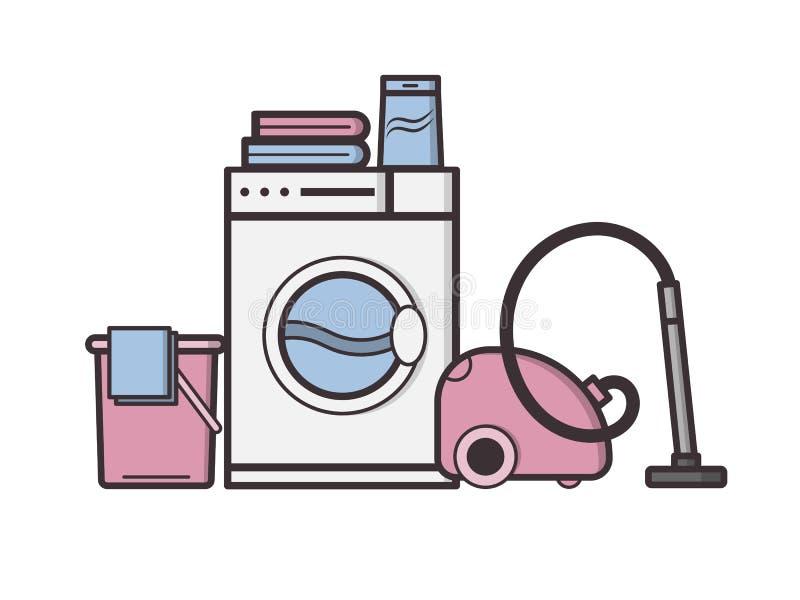 Вектор возражает прачечную и домоустройство бесплатная иллюстрация