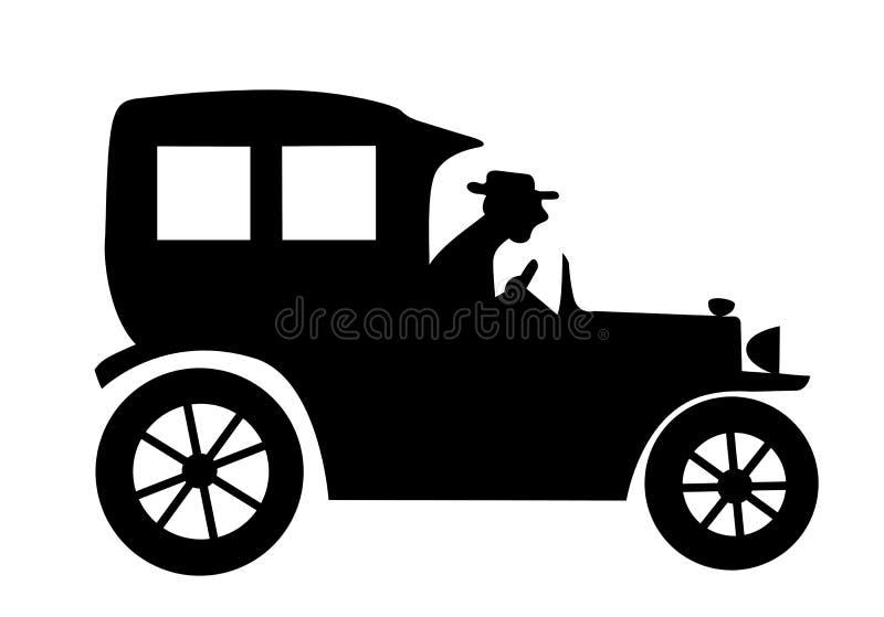 вектор времени силуэта автомобиля старый иллюстрация штока
