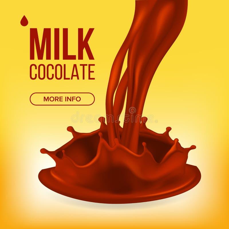 Вектор выплеска шоколада Сливк, жидкость Свирль молока абстрактный коричневый цвет предпосылки выравнивает изображение Еда десерт бесплатная иллюстрация