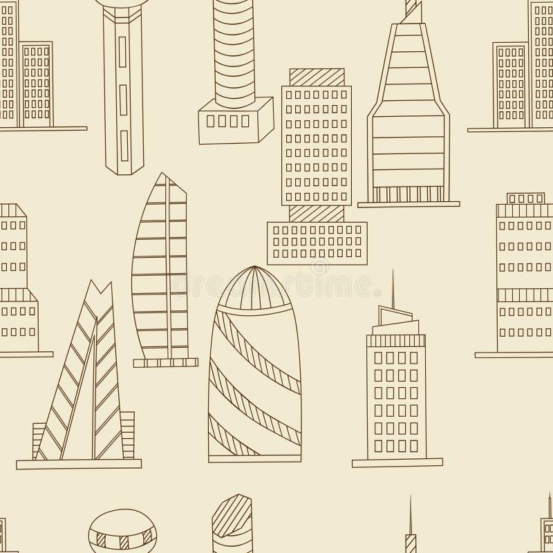 Вектор высоких зданий безшовный ретро иллюстрация штока
