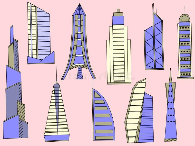 Вектор высоких зданий иллюстрация штока