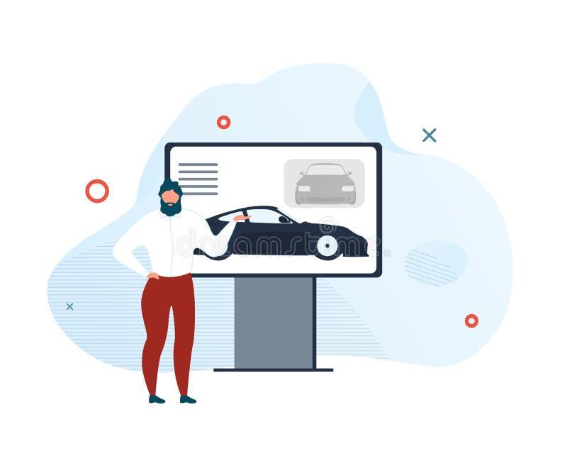 Вектор выставочного зала автомобиля новой модели представления современный иллюстрация штока