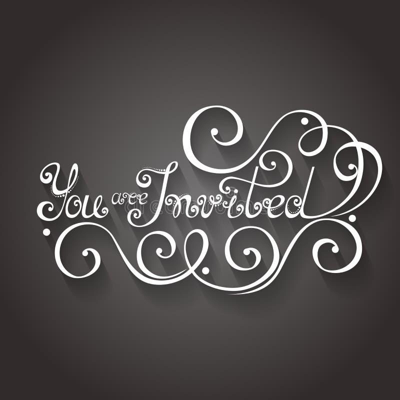 Вектор вы приглашенная надпись, приглашение праздника, Wedding иллюстрация штока