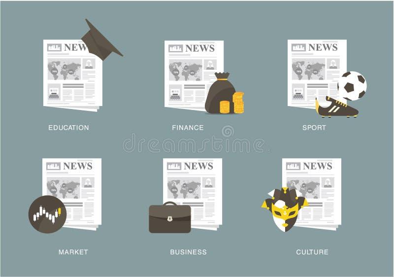 вектор газеты весточки иллюстраций иконы принципиальной схемы установленный иллюстрация штока