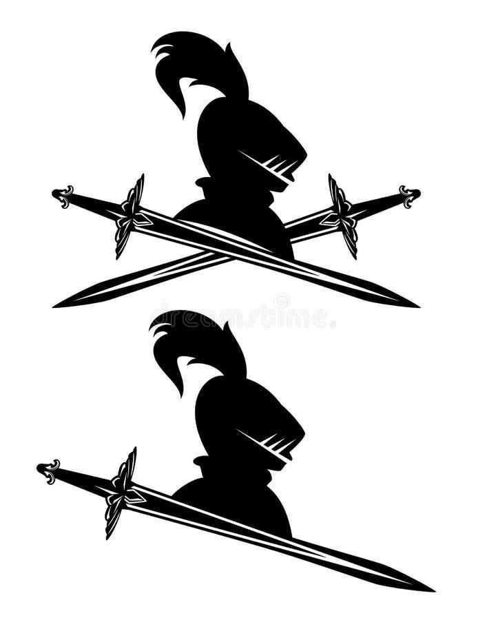 Вектор геральдики головы и шпаги шлема рыцаря иллюстрация штока