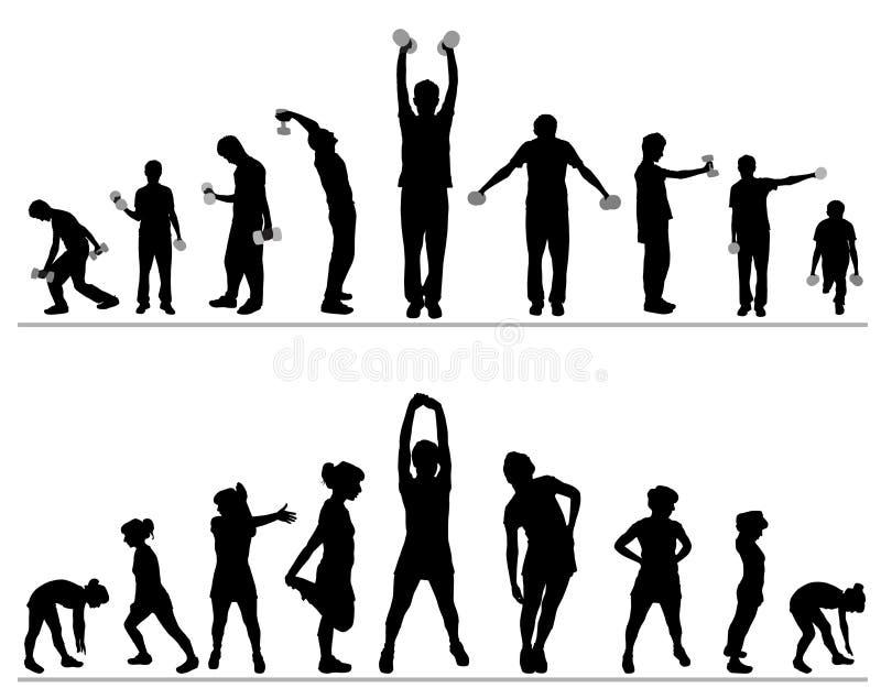 вектор гимнастики пригодности иллюстрация штока