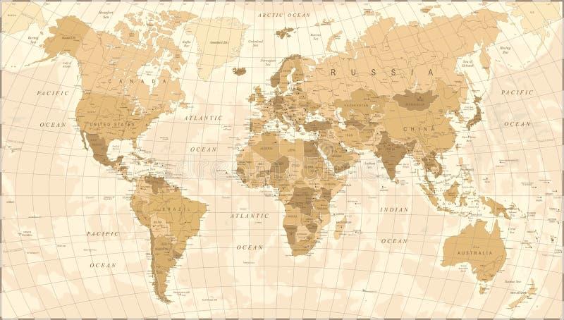 Вектор года сбора винограда карты мира иллюстрация штока