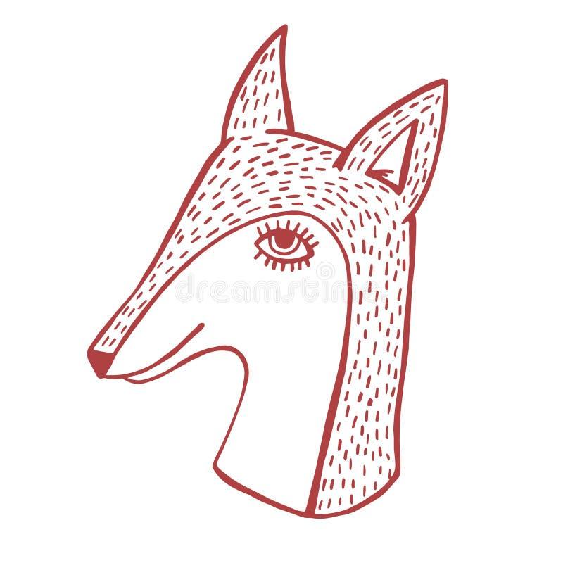 Вектор головы Fox нарисованный рукой милый иллюстрация вектора