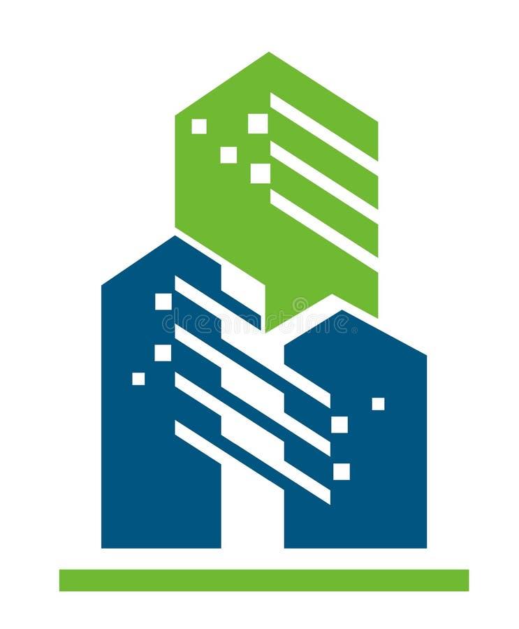 Вектор голубого зеленого цвета технологии строительства стоковое изображение rf