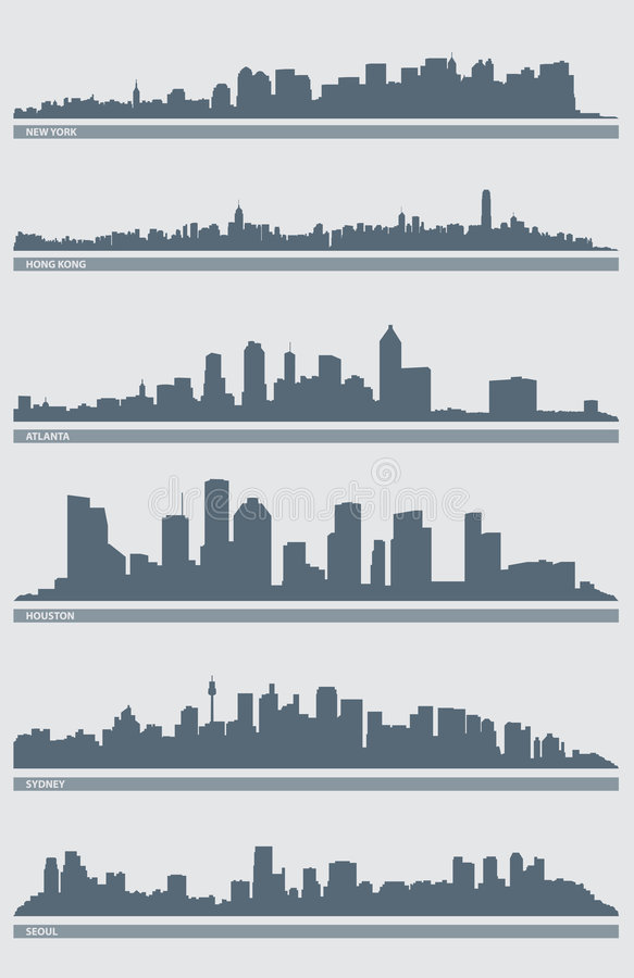 вектор горизонта 2 городских пейзажей