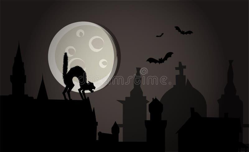 вектор городка ночи halloween иллюстрация штока