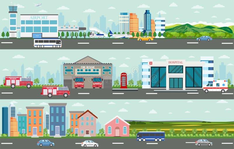 Вектор городского большого городского пейзажа и сельского района иллюстрация штока