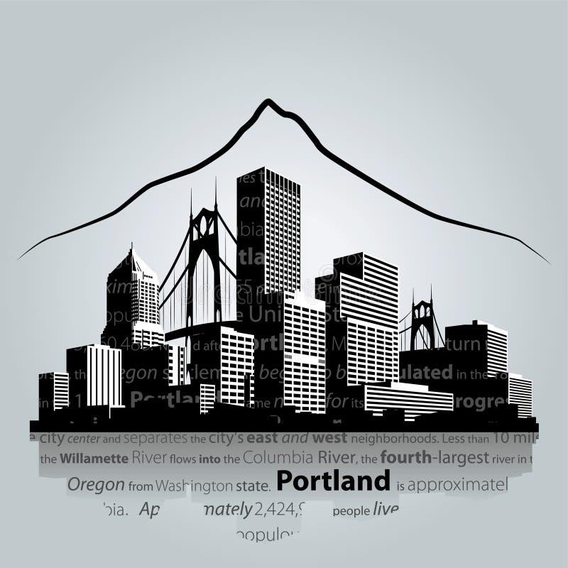 Вектор городского пейзажа Портленда иллюстрация вектора