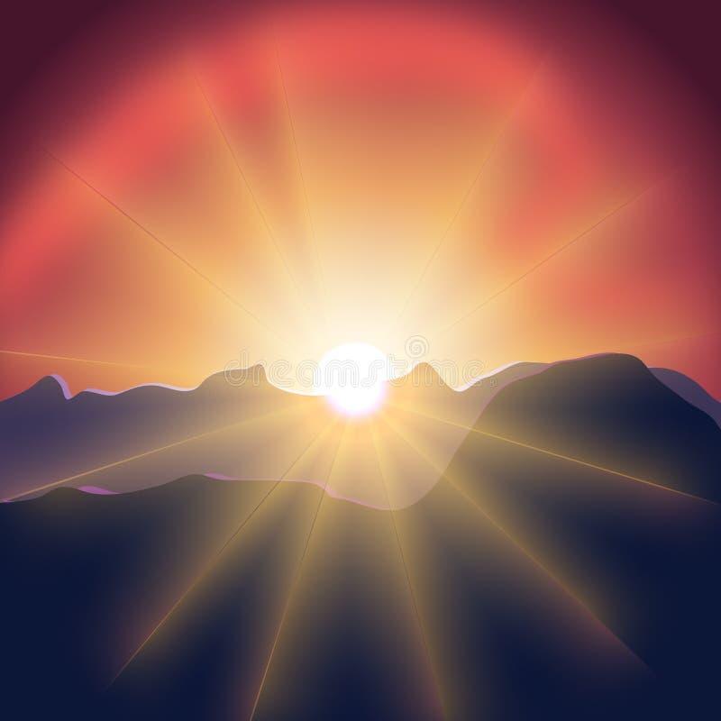 Вектор горы захода солнца стоковые изображения rf