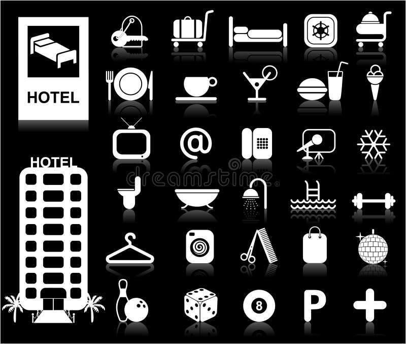 вектор гостиницы установленный иконами иллюстрация вектора