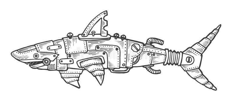 Вектор гравировки механически акулы животный иллюстрация вектора