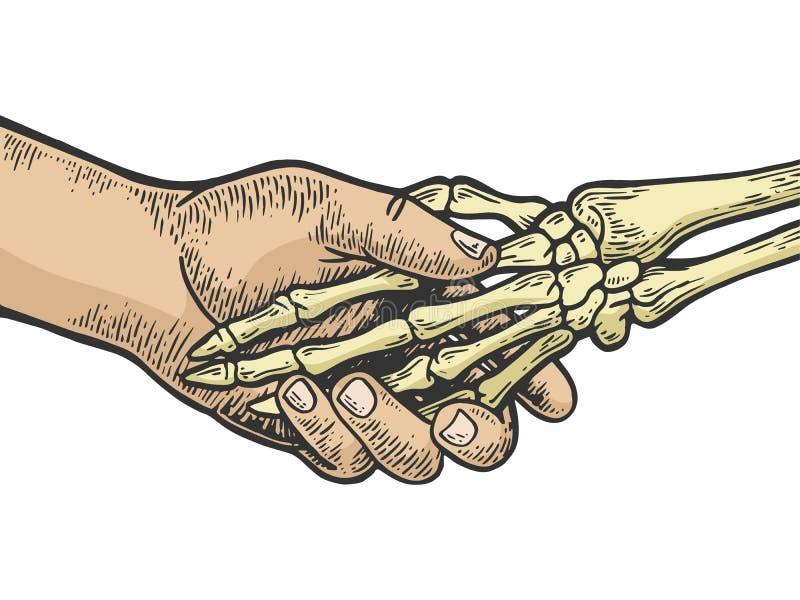 Вектор гравировки рукопожатия смерти каркасный бесплатная иллюстрация