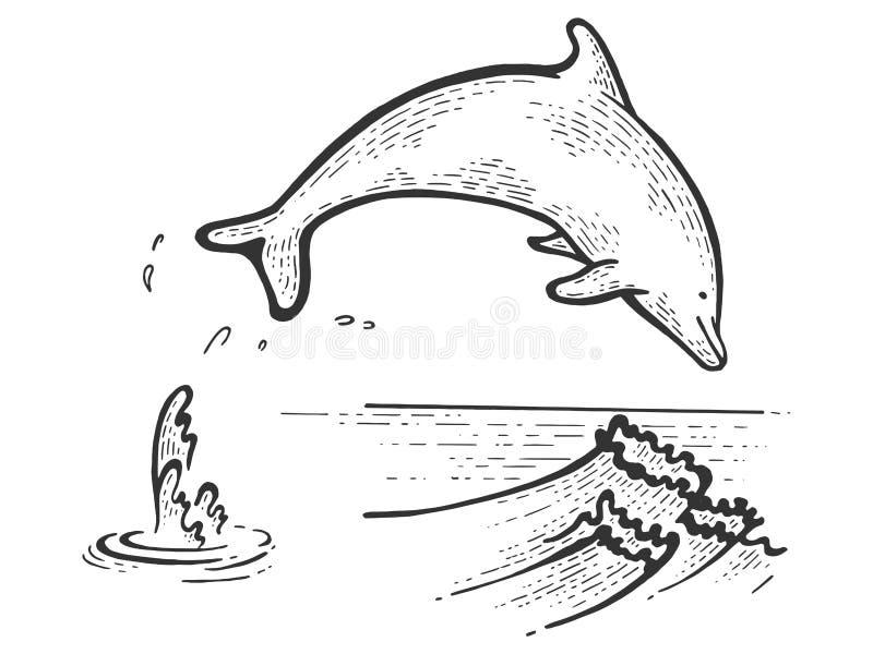 Вектор гравировки эскиза дельфина скача бесплатная иллюстрация
