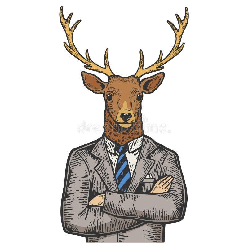 Вектор гравировки эскиза цвета бизнесмена оленей иллюстрация штока