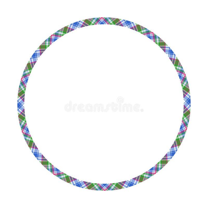 Вектор границ и рамок круга Дизайн рамки круглой картины границы геометрический винтажный Шотландская текстура ткани шотландки та бесплатная иллюстрация