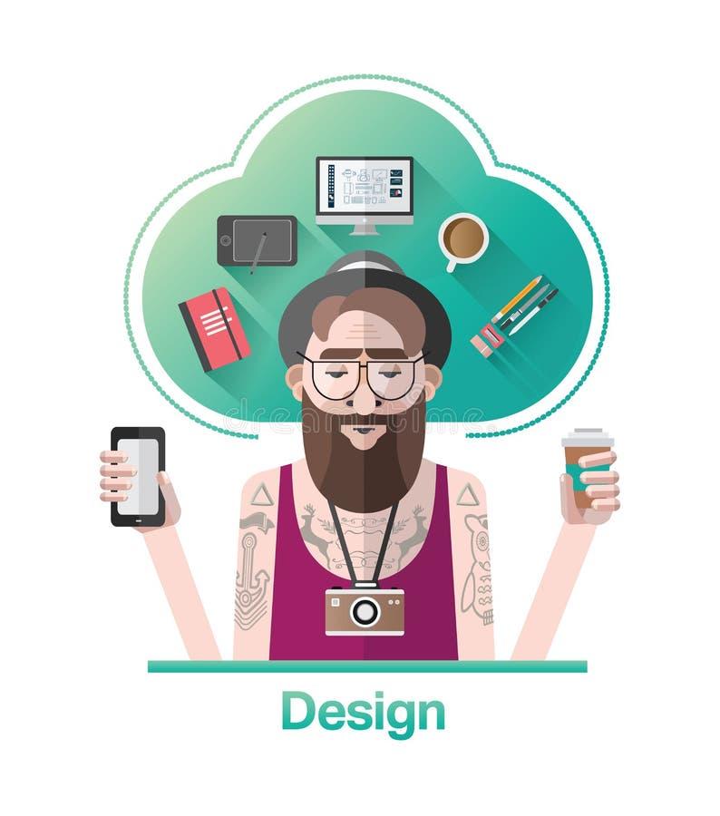 Вектор график-дизайнера битника с текстом бесплатная иллюстрация
