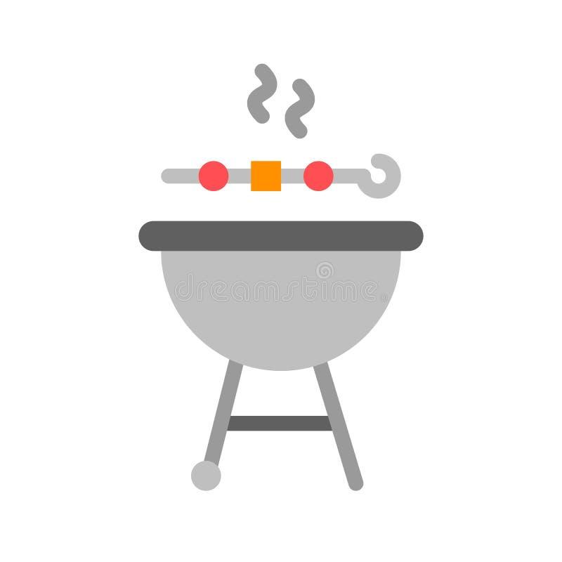 Вектор гриля барбекю, значок стиля барбекю родственный плоский иллюстрация вектора