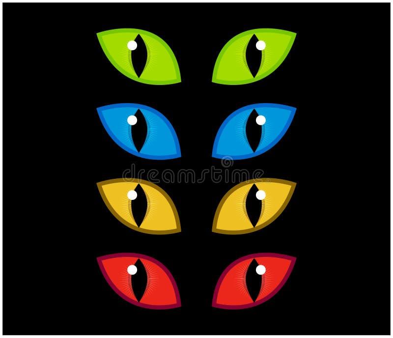 Вектор глаз хеллоуина пугающий установил на черную предпосылку Иллюстрация зла, опасная, одичалая сердитая радужка кота в темноте иллюстрация штока