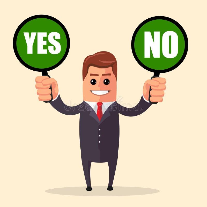 вектор Да или нет отборная иллюстрация графиков данным по сети концепции дела Знак креста контрольной пометки бизнесмена истинный иллюстрация вектора