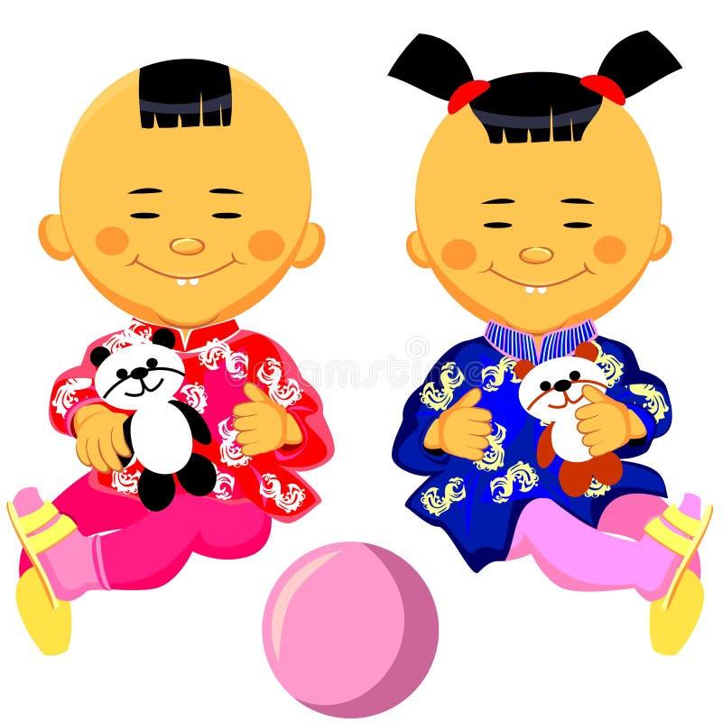 вектор девушки ребёнка китайский иллюстрация вектора