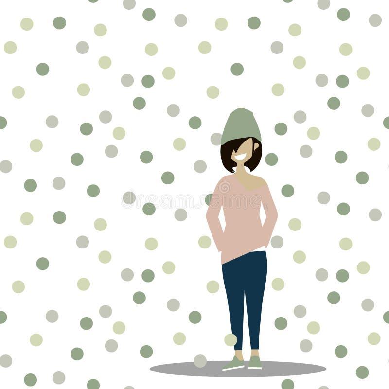 Вектор девушки шаржа смешной предназначенный для подростков на предпосылке картины точки польки безшовной иллюстрация штока