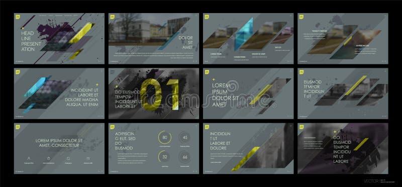 Вектор дела представления Template Геометрические элементы для представлений скольжения на серой предпосылке бесплатная иллюстрация