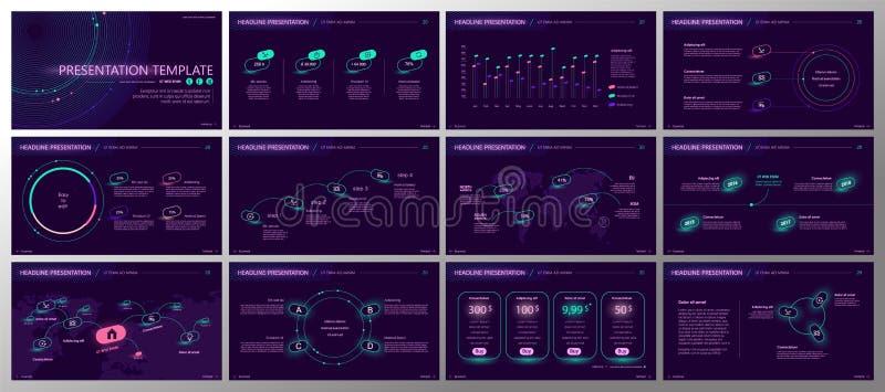 Вектор дела представления Template Элементы градиента неоновые для представлений скольжения на пурпурной предпосылке иллюстрация штока