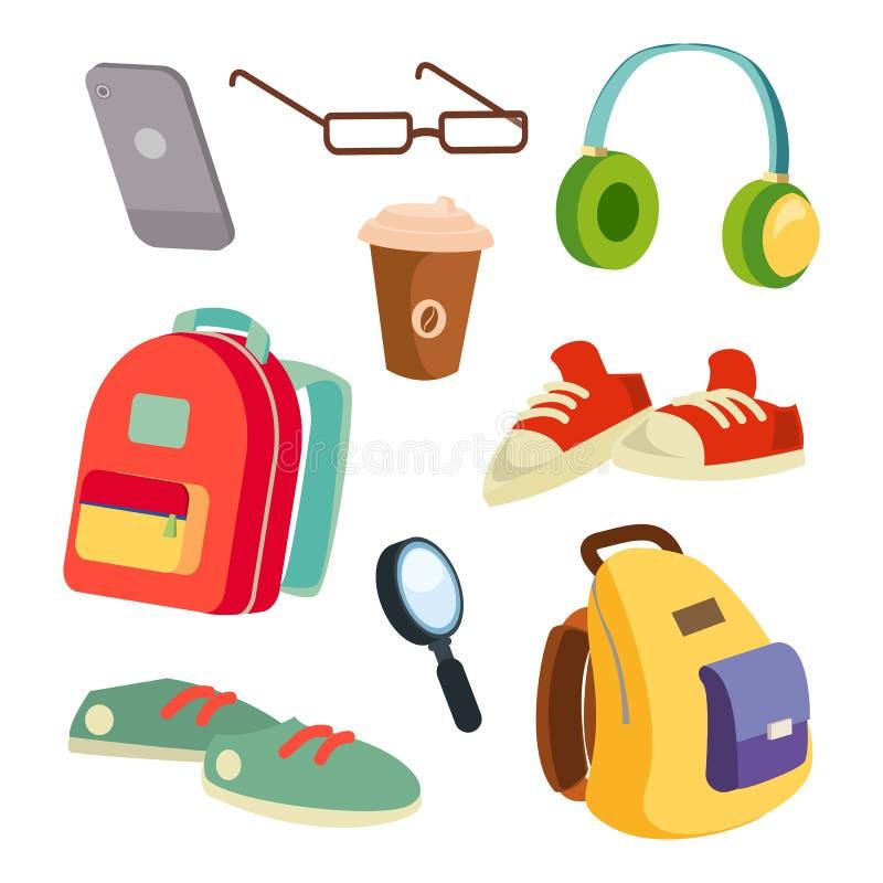 Вектор деталей студентов установленный аксессуарами Красочные рюкзаки школы Стекла, телефон, кружка кофе, тапки, наушники иллюстрация штока