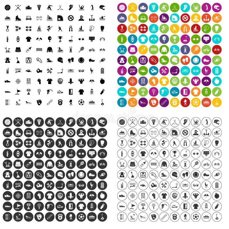 100 вектор деятельностям при спорт установленный значками различный иллюстрация штока