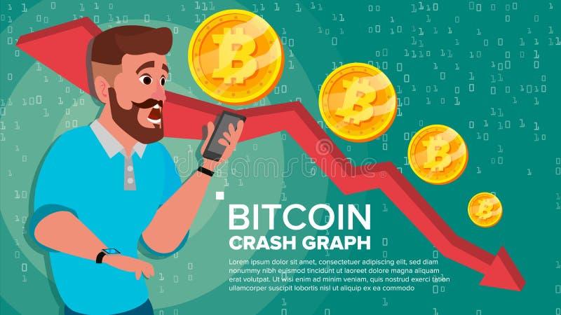Вектор диаграммы аварии Bitcoin Удивленный инвестор Торговая операция обменом отрицательного прироста населения Сброс давления се иллюстрация штока