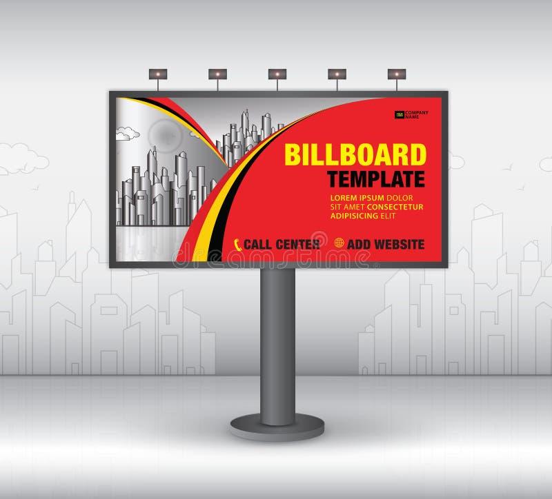 Вектор дизайна афиши, шаблон знамени, реклама, реалистическая конструкция для на открытом воздухе рекламы на предпосылке города бесплатная иллюстрация