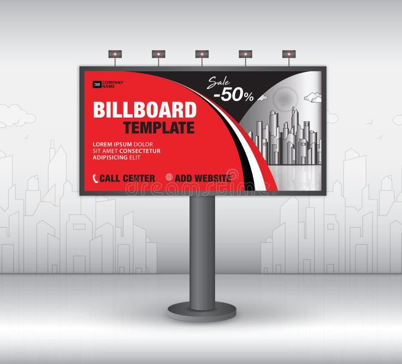 Вектор дизайна афиши, шаблон знамени, реклама, реалистическая конструкция для на открытом воздухе рекламы на предпосылке города иллюстрация вектора