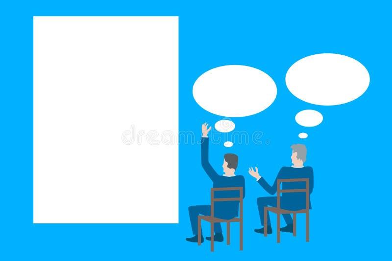 Вектор дизайна дела плоский при бизнесмены коллективно обсуждать перед плакатом бесплатная иллюстрация