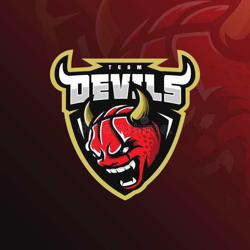 Вектор дизайна дьявола логотипа талисмана баскетбола с современным стилем концепции иллюстрации для печатания значка, эмблемы и ф иллюстрация вектора