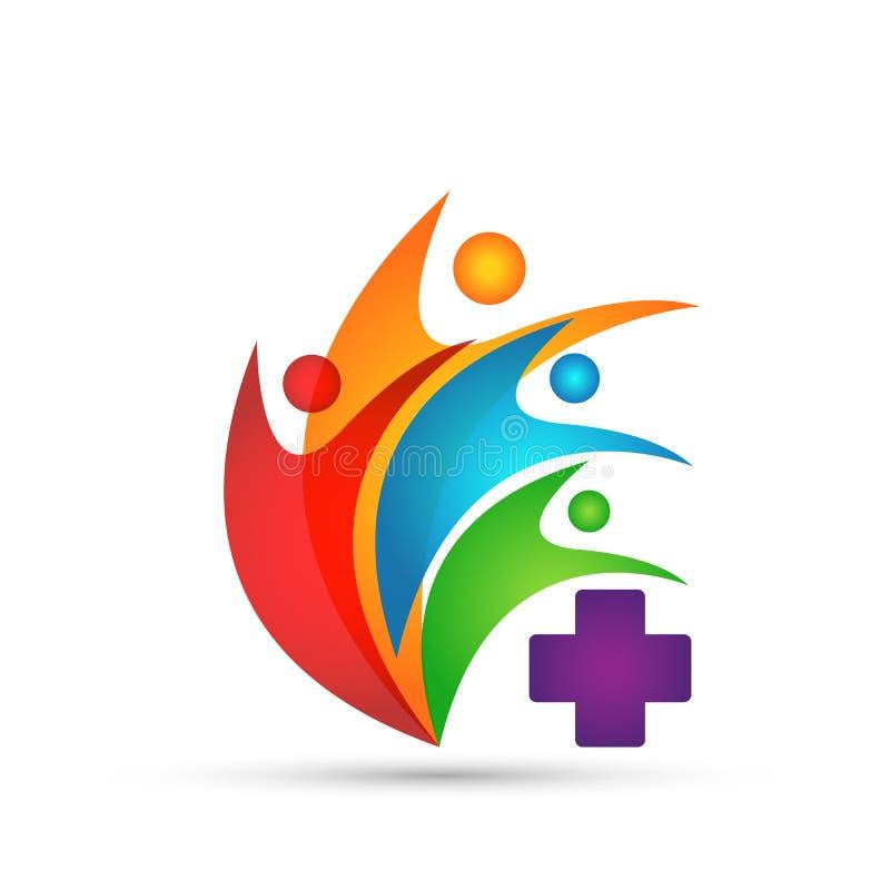 Вектор дизайна значка символа креста здравоохранения людей семьи медицинский на белой предпосылке бесплатная иллюстрация
