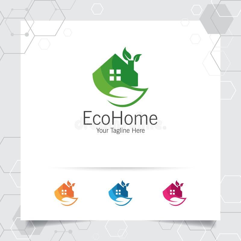 Вектор дизайна логотипа зеленого дома с концепцией имущество, свойство, резиденция и ипотека иллюстрации значка дома и лист по-на бесплатная иллюстрация
