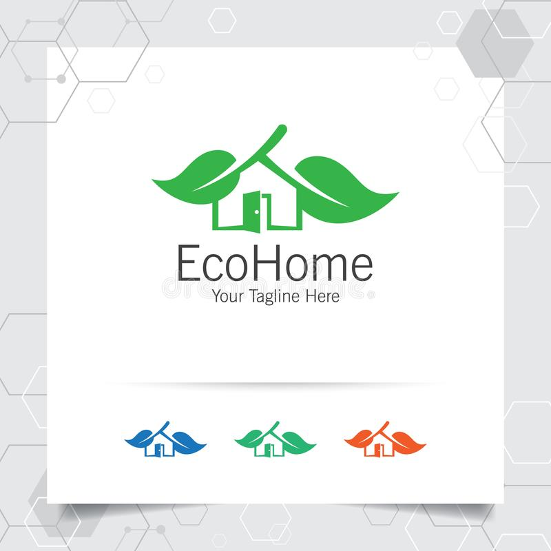 Вектор дизайна логотипа зеленого дома с концепцией имущество, свойство, резиденция и ипотека иллюстрации значка дома и лист по-на иллюстрация штока