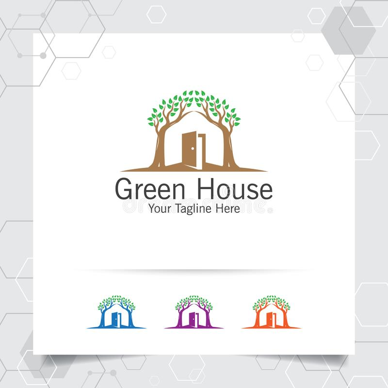 Вектор дизайна логотипа зеленого дома с концепцией имущество, свойство, резиденция и ипотека иллюстрации значка дома и лист по-на иллюстрация вектора