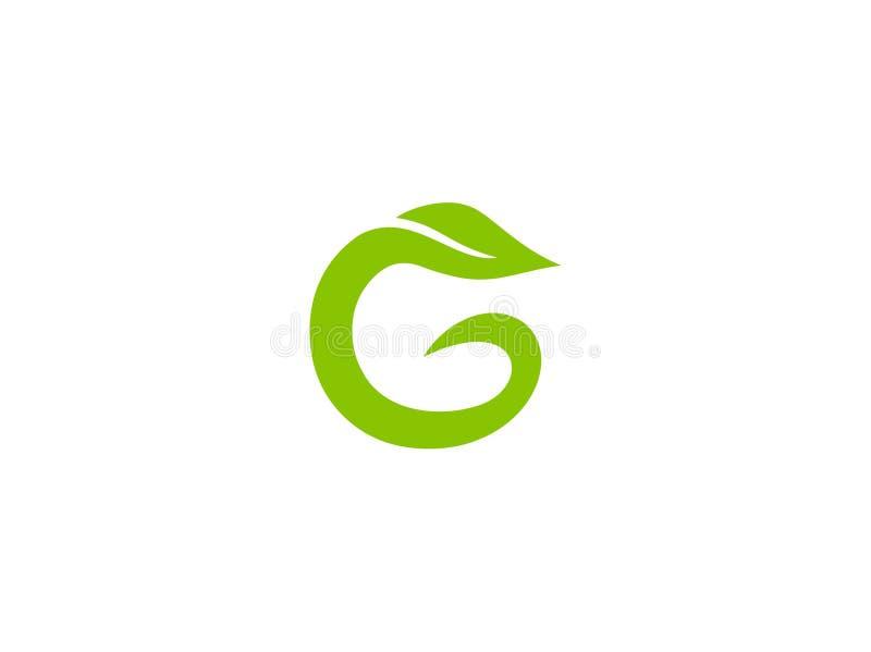 Вектор дизайна логотипа лист зеленого цвета g алфавита литерности бесплатная иллюстрация