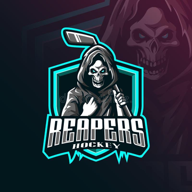 Вектор дизайна логотипа на хоккее с шайбой с современными иллюстрациями: дизайн-дизайн, эмблема и футболка жнец иллюстрация штока